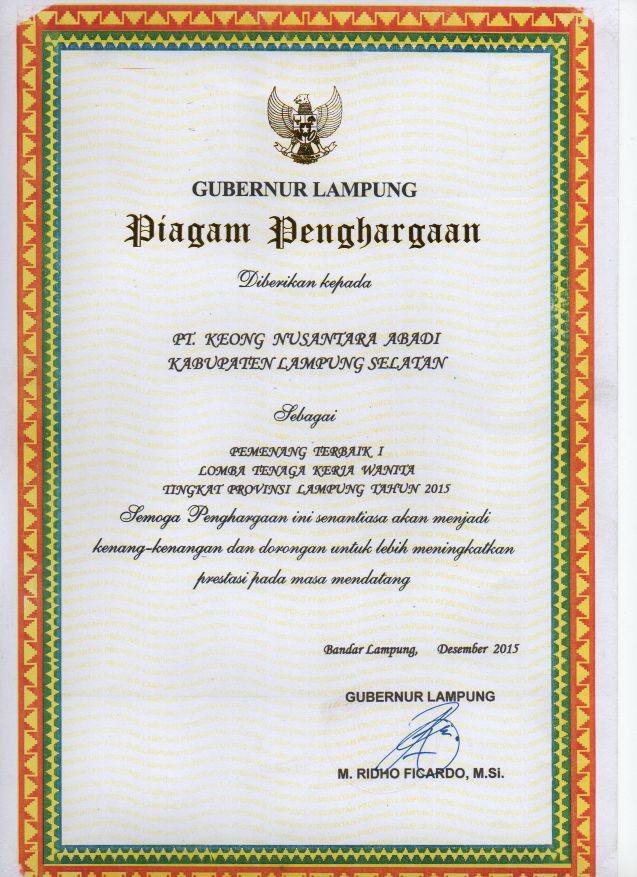 First Winner of Nakerwan 2015 Lampung Province