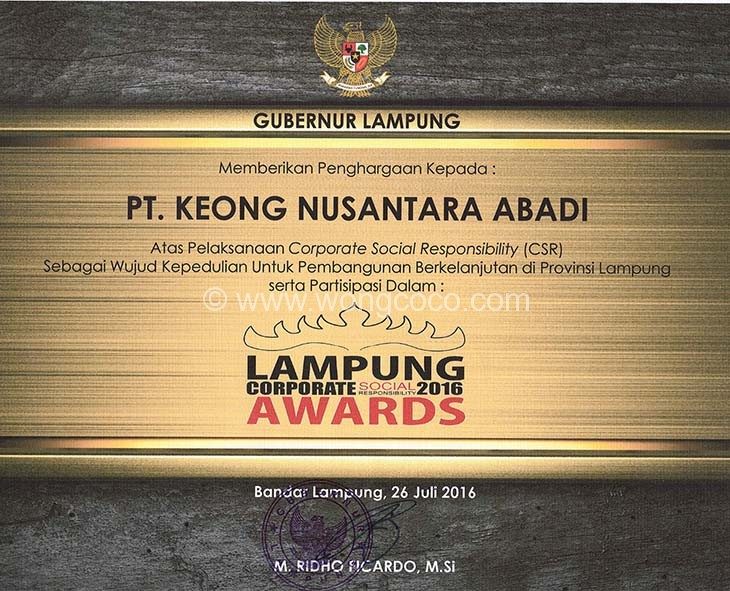 CSR Awards As a form of caring for the Suistanable Development of Lampung Province